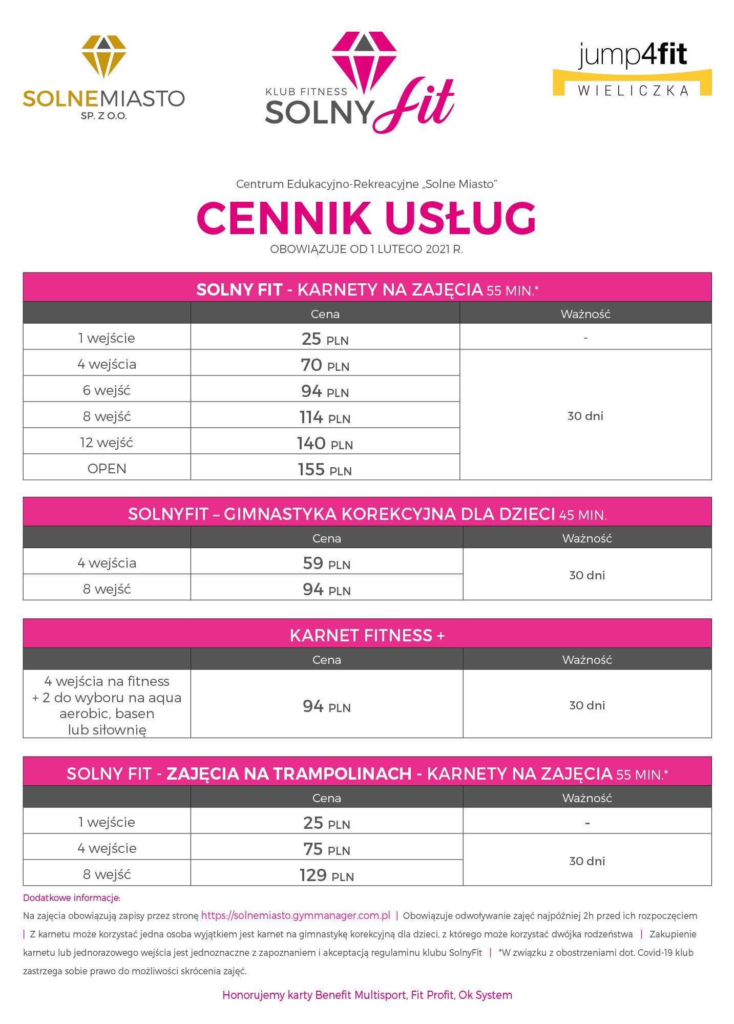 Solny Fit - Cennik 2021 50 x 70